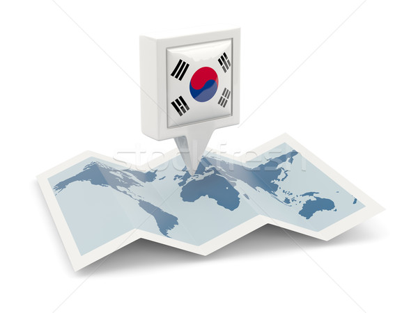 Kare pin bayrak Güney Kore harita seyahat Stok fotoğraf © MikhailMishchenko