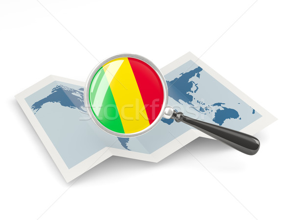 Magnified flag of mali with map Stock photo © MikhailMishchenko