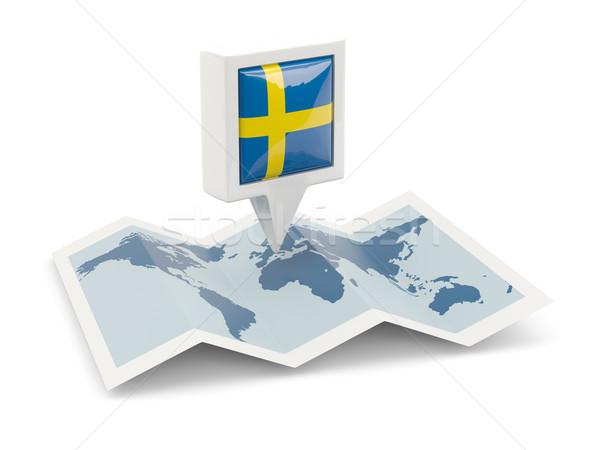 Kare pin bayrak İsveç harita seyahat Stok fotoğraf © MikhailMishchenko