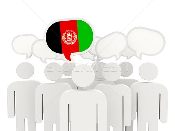 Insanlar bayrak Afganistan yalıtılmış beyaz toplantı Stok fotoğraf © MikhailMishchenko