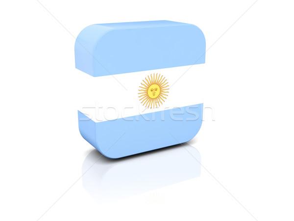 Praça ícone bandeira Argentina reflexão branco Foto stock © MikhailMishchenko