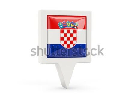 Tér fém gomb zászló Horvátország izolált Stock fotó © MikhailMishchenko