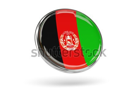 Adesivo bandeira Afeganistão isolado branco viajar Foto stock © MikhailMishchenko
