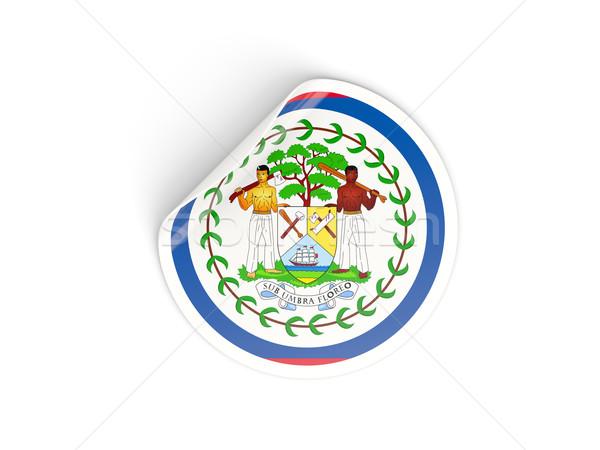 Matrica zászló Belize izolált fehér utazás Stock fotó © MikhailMishchenko