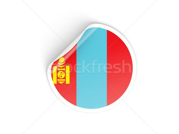 Matrica zászló Mongólia izolált fehér utazás Stock fotó © MikhailMishchenko