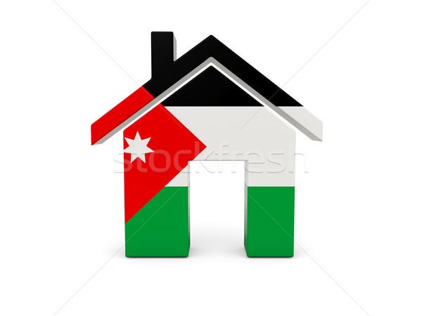 Casa bandeira Jordânia isolado branco pesquisar Foto stock © MikhailMishchenko