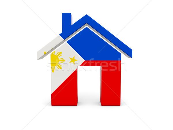 Otthon zászló Fülöp-szigetek izolált fehér keresés Stock fotó © MikhailMishchenko