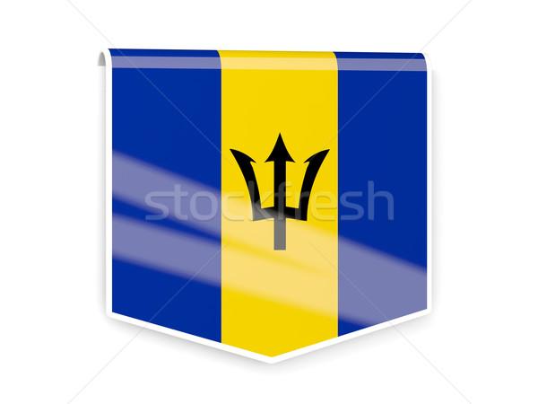 Bandeira etiqueta Barbados isolado branco assinar Foto stock © MikhailMishchenko