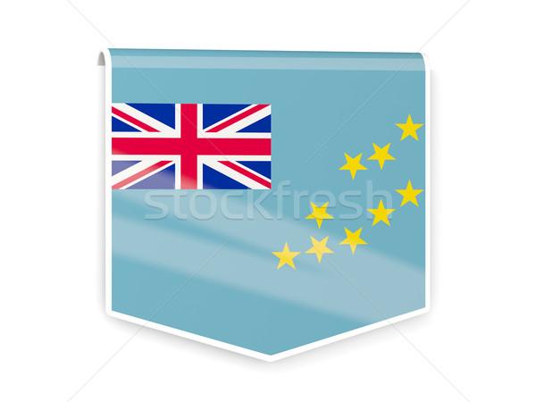 Bandeira etiqueta Tuvalu isolado branco assinar Foto stock © MikhailMishchenko