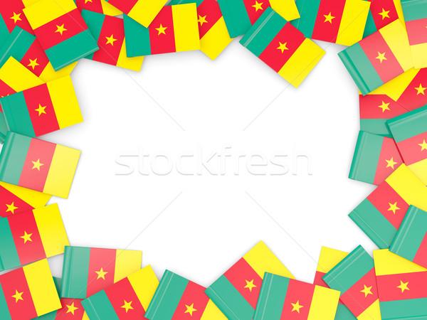 Quadro bandeira Camarões isolado branco Foto stock © MikhailMishchenko