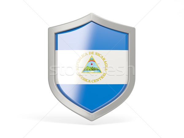 Escudo ícone bandeira Nicarágua isolado branco Foto stock © MikhailMishchenko