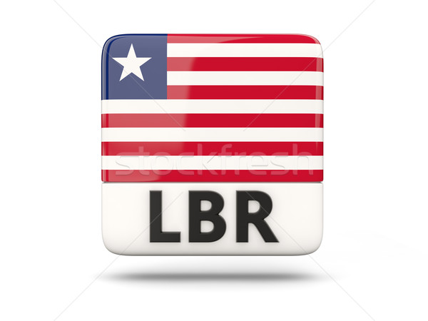 Praça ícone bandeira Libéria iso código Foto stock © MikhailMishchenko