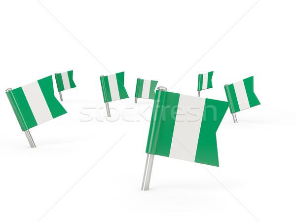Kare bayrak Nijerya yalıtılmış beyaz ülke Stok fotoğraf © MikhailMishchenko