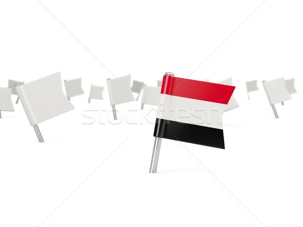 Praça pin bandeira Iémen isolado branco Foto stock © MikhailMishchenko