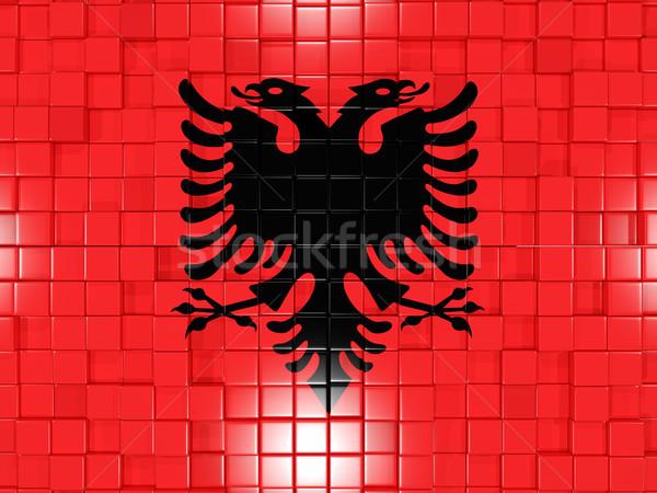 Background with square parts. Flag of albania. 3D illustration Stock photo © MikhailMishchenko