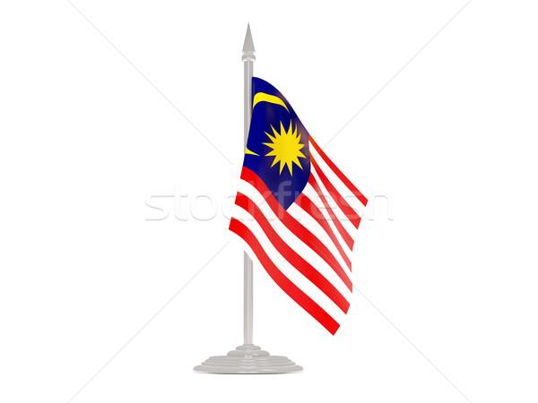 Bandera Malasia asta de bandera 3d aislado blanco Foto stock © MikhailMishchenko