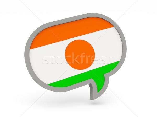 Chat icono bandera Níger aislado blanco Foto stock © MikhailMishchenko