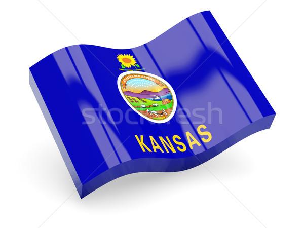 Flag of kansas, US state wave icon Stock photo © MikhailMishchenko