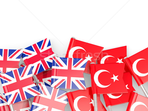 Flag pins of United Kingdom and Turkey isolated on white Stock photo © MikhailMishchenko