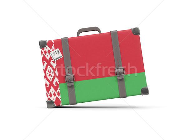 Bagage vlag Wit-Rusland koffer geïsoleerd witte Stockfoto © MikhailMishchenko