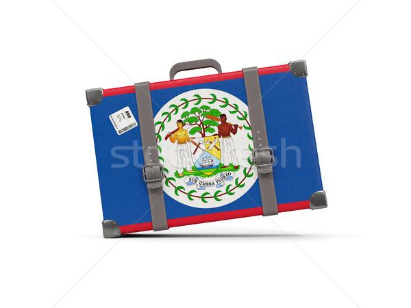 Csomagok zászló Belize bőrönd izolált fehér Stock fotó © MikhailMishchenko