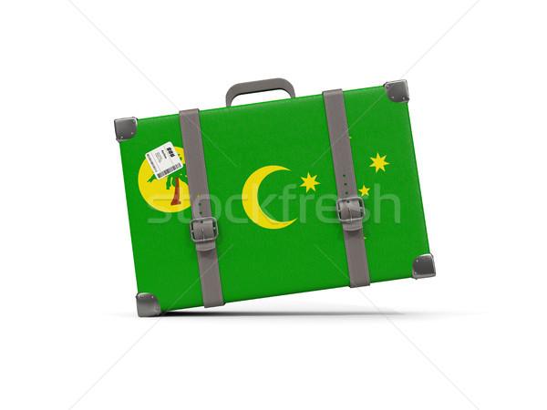 Luggage with flag of cocos islands. Suitcase isolated on white Stock photo © MikhailMishchenko