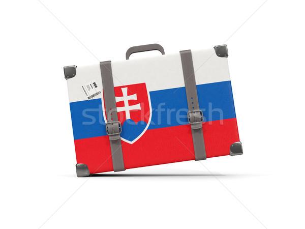 Bagage vlag Slowakije koffer geïsoleerd witte Stockfoto © MikhailMishchenko