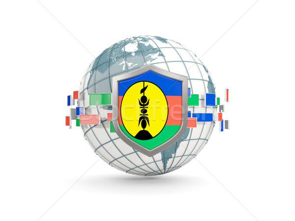 Globe and shield with flag of new caledonia isolated on white Stock photo © MikhailMishchenko