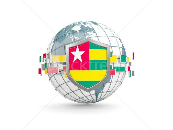 Mondo scudo bandiera Togo isolato bianco Foto d'archivio © MikhailMishchenko