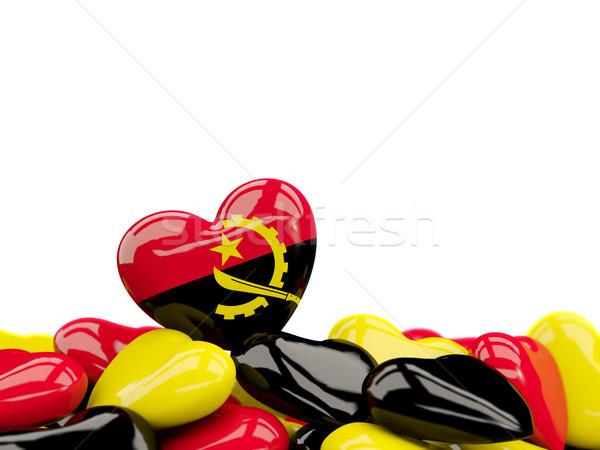 сердце флаг Ангола Top сердцах изолированный Сток-фото © MikhailMishchenko