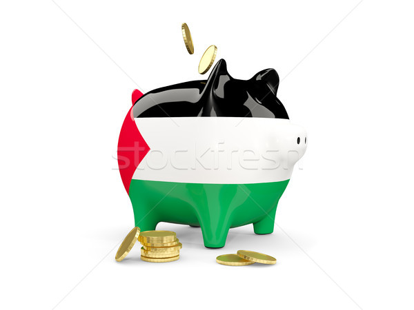Fat piggy bank with fag of palestinian territory Stock photo © MikhailMishchenko