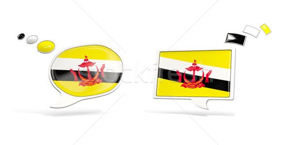 два чате иконки флаг Бруней квадратный Сток-фото © MikhailMishchenko