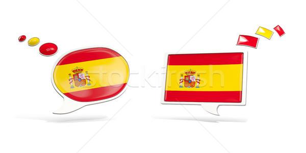 Foto stock: Dois · conversar · ícones · bandeira · Espanha · praça