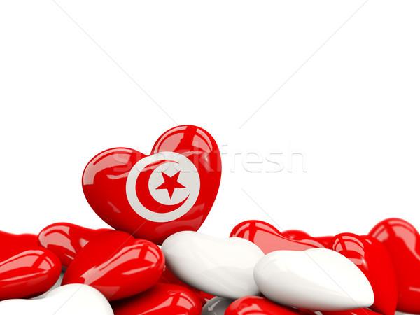 Kalp bayrak Tunus üst kalpler yalıtılmış Stok fotoğraf © MikhailMishchenko