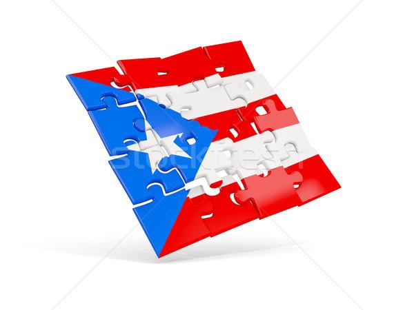 Puzzel vlag Puerto Rico geïsoleerd witte 3d illustration Stockfoto © MikhailMishchenko