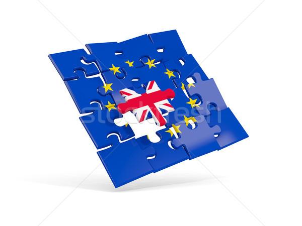 Puzzle flag of european union and flag of UK Stock photo © MikhailMishchenko