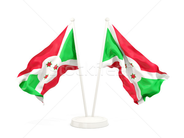 Twee vlaggen Boeroendi geïsoleerd witte Stockfoto © MikhailMishchenko