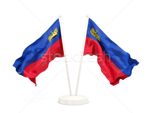 Two waving flags of liechtenstein Stock photo © MikhailMishchenko
