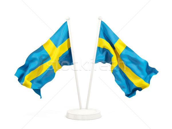 Twee vlaggen Zweden geïsoleerd witte Stockfoto © MikhailMishchenko