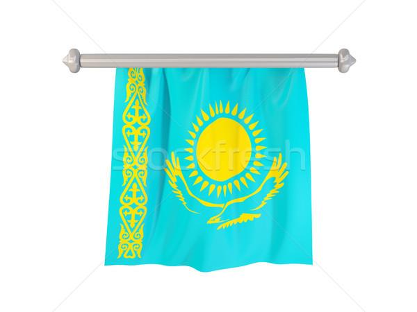 Zászló Kazahsztán izolált fehér 3d illusztráció címke Stock fotó © MikhailMishchenko