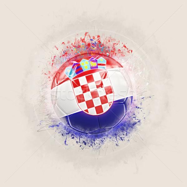 Grunge futebol bandeira Croácia ilustração 3d mundo Foto stock © MikhailMishchenko