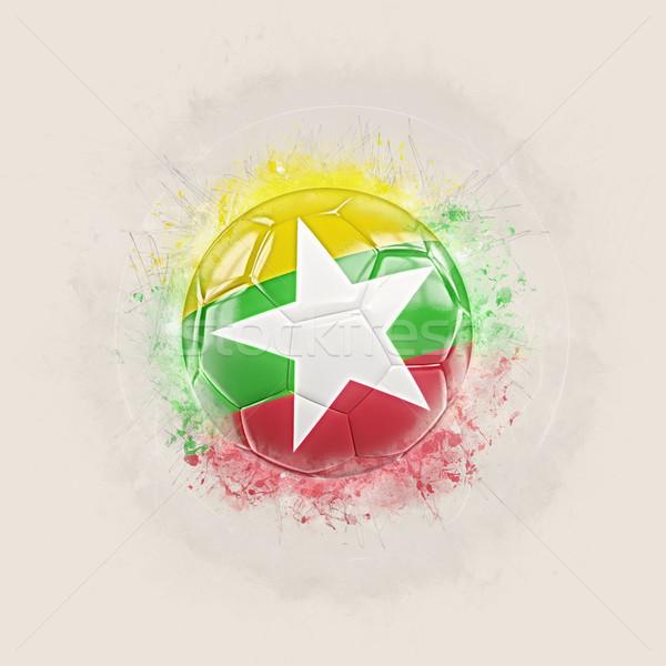 Grunge voetbal vlag Myanmar 3d illustration wereld Stockfoto © MikhailMishchenko