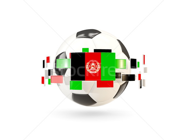 Soccer ball with line of flags. Flag of afghanistan Stock photo © MikhailMishchenko
