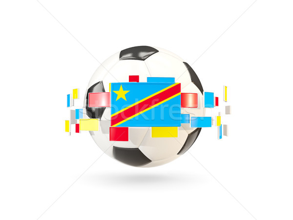 Soccer ball with line of flags. Flag of democratic republic of t Stock photo © MikhailMishchenko