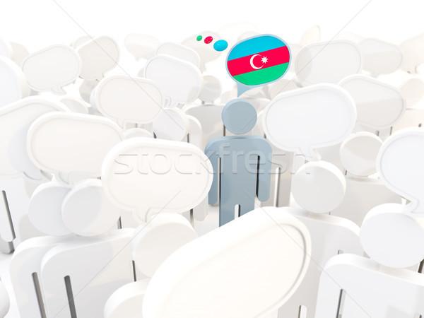 Foto stock: Hombre · bandera · Azerbaiyán · multitud · 3d · viaje