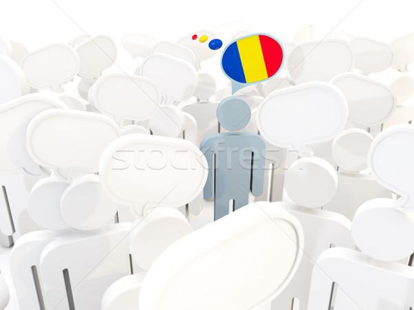 Man vlag Roemenië menigte 3d illustration teken Stockfoto © MikhailMishchenko