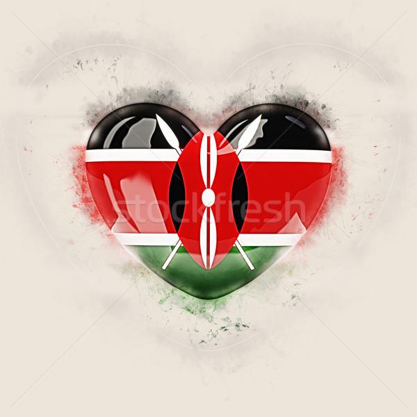 Kalp bayrak Kenya grunge 3d illustration seyahat Stok fotoğraf © MikhailMishchenko