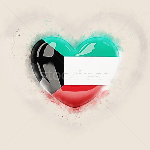 Cuore bandiera Kuwait grunge illustrazione 3d viaggio Foto d'archivio © MikhailMishchenko