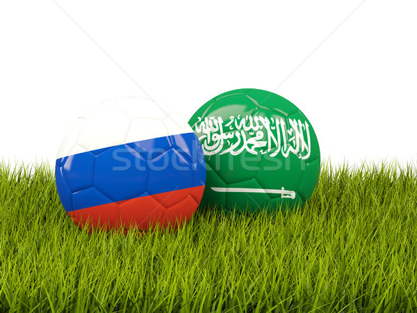 Russia vs Saudi Arabia. Soccer concept. Footballs with flags on  Stock photo © MikhailMishchenko