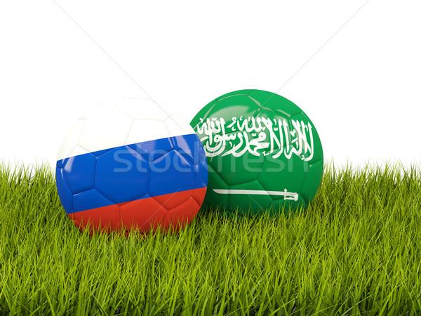 Rusia vs Arabia Saudita fútbol banderas hierba verde Foto stock © MikhailMishchenko